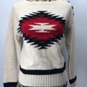 Ralph Lauren Aztec print beige sweater size S